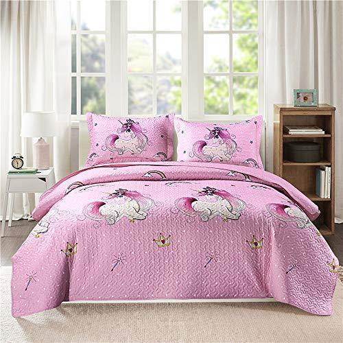 Girls Quilt Set Twin Size Unicorn Quilt Bedding Kids Bedspreads Set Cute Kids Print Quilt Girls Coverlet Set Reversible Bedspread Kids Lightweight Quilts Girls Pink Quilt+2 Pillow Shams All Season - PHUNUZ