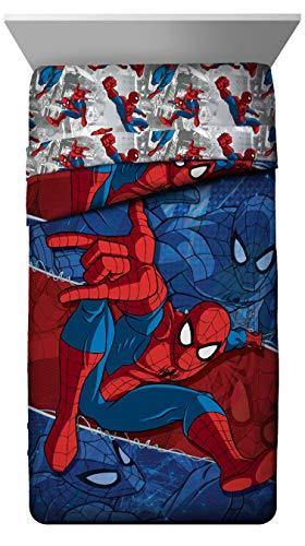 Marvel Spiderman Burst Twin Comforter - Super Soft Kids Reversible Bedding features Spiderman - Fade Resistant Polyester Microfiber Fill (Official Marvel Product) - PHUNUZ