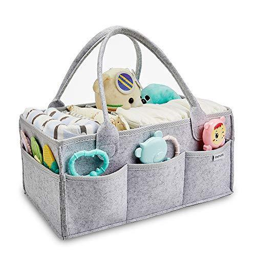 Clearworld Baby Diaper Caddy Organizer - Baby Shower Gift Basket for Changing Table and Car, Portable Nursery Storage Bin Great for Storing Diapers, Bottles, Baby's Toys (Grey) - PHUNUZ