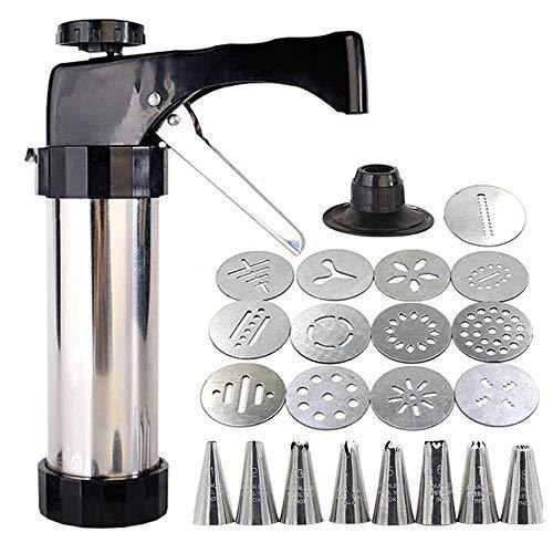 Cookie Press Gun, TEEPAO 13 Stainless Steel Disc Shapes Spritz Cookie Maker Kits And 8 Piping - Versatile, Reusable, For Christmas Party/Birthday Celebration/Anniversary Biscuit Decoration - PHUNUZ