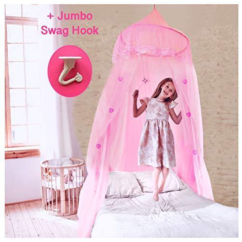 EVEN NATURALS Princess Bed Canopy for Girls, with Lace Dome & Hearts (Easy Hanging System), Birthday Gift, Mosquito Netting for Crib up to Twin Size Girls Bed - PHUNUZ