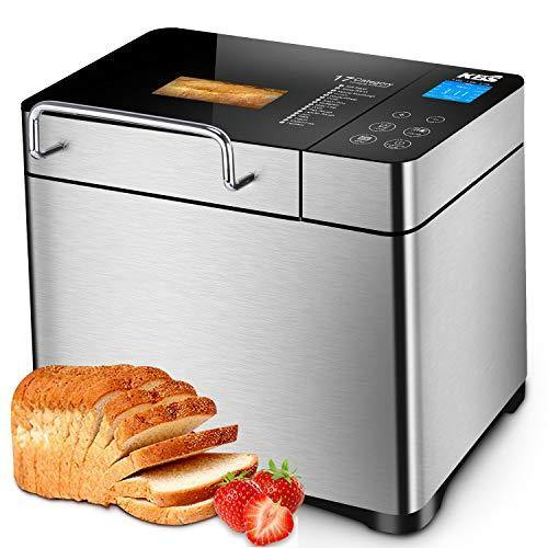 KBS Pro Stainless Steel Bread Machine, 2LB 17-in-1 Programmable XL Bread Maker with Fruit Nut Dispenser, Nonstick Ceramic Pan& Digital Touch Panel, 3 Loaf Sizes 3 Crust Colors, Reserve& Keep Warm Set - PHUNUZ