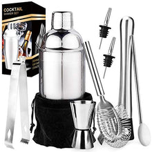 Load image into Gallery viewer, Stainless Steel Bartender Kit, Cocktail Shaker Bar Set with Martini Kit,Double Measuring Jigger,Mixing Spoon,Liquor Pourers,Muddler,Strainer and Ice Tongs| Professional Bartender Drink Making Tools