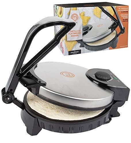 MasterChef Electric Tortilla Maker- Homemade Flatbread, Pitas, Tortillas- Heavy Duty, Non-stick Cooker Easier than Tortilla Press - PHUNUZ