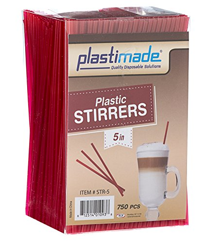 [750 Count] Plastimade Red Colored 5 inch Plastic Disposable Drink Stirrers For Home, Office, Wedding, Events, Parties, Take Out, Cocktails, Coffee, Tea, Cafes. (1 Pack)
