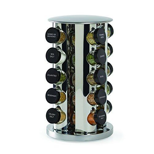 Kamenstein Revolving 20-Jar Countertop Rack Tower Organizer with Free Spice Refills for 5 Years, Silver - PHUNUZ