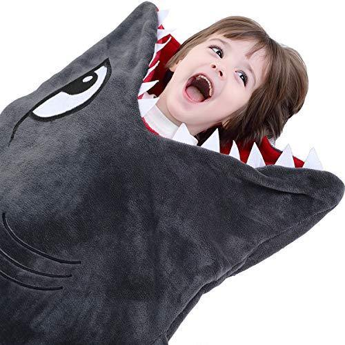 CozyBomB Shark Tails Animal Blanket for Kids - Cozy Smooth One Piece Design - Durable Seamless Snuggle Plush Throw Enlarged Size Gray Sleeping Bag with Blankie Fun Fin - Boys and Girls - PHUNUZ