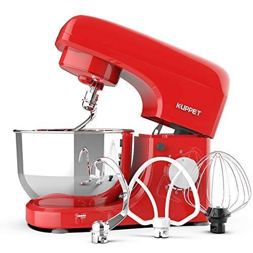 Kuppet Stand Mixers, 8-Speed Tilt-Head Electric Food Stand Mixer with Dough Hook, Wire Whip & Beater, Pouring Shield, 4.7QT Stainless Steel Bowl - Red - PHUNUZ