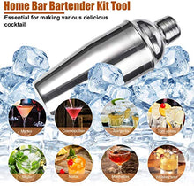 Load image into Gallery viewer, ADTZYLD Cocktail Shaker Set Bartender Kit,Bar Set with Bamboo Stand 12 Piece Bartending Tools 25 oz Professional Stainless Steel Martini Shaker with Mocktail Recipes Booklet