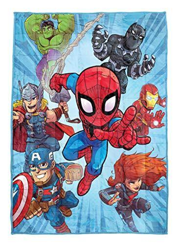 Jay Franco Marvel Super Hero Adventures Burst Weighted Blanket 4.5 lbs - Measures 36 x 48 inches, Kids Bedding Featuring Avengers - Fade Resistant Super Soft Velboa - (Official Marvel Product) - PHUNUZ