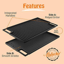 Load image into Gallery viewer, NutriChef Cast Iron Reversible Grill Plate - 18 Inch Flat Cast Iron Skillet Griddle Pan For Stove Top, Gas Range Grilling Pan w/ Silicone Oven Mitt For Electric Stovetop, Ceramic, Induction.