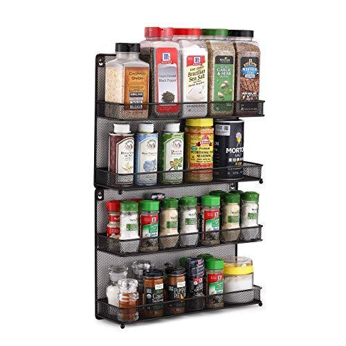 CAXXA 2 PK 2 Tier Mesh Kitchen Counter-top or Wall Mount Spice Rack Jars Storage Organizer, Bronze - PHUNUZ