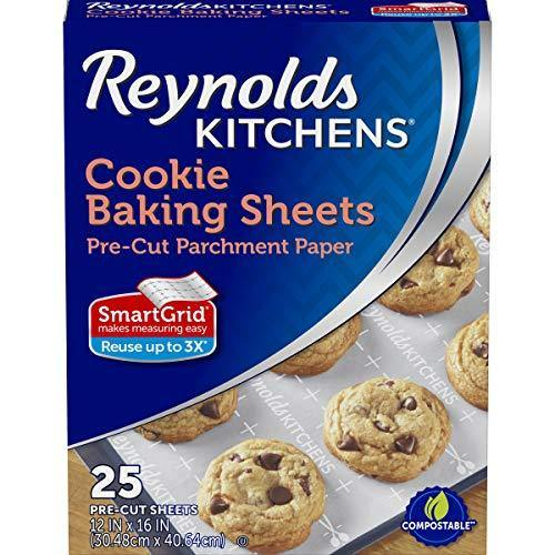 Reynolds Kitchens Cookie Baking Sheets, Pre-Cut Parchment Paper, 25 Sheets (Pack of 4), 100 Total Sheets - PHUNUZ
