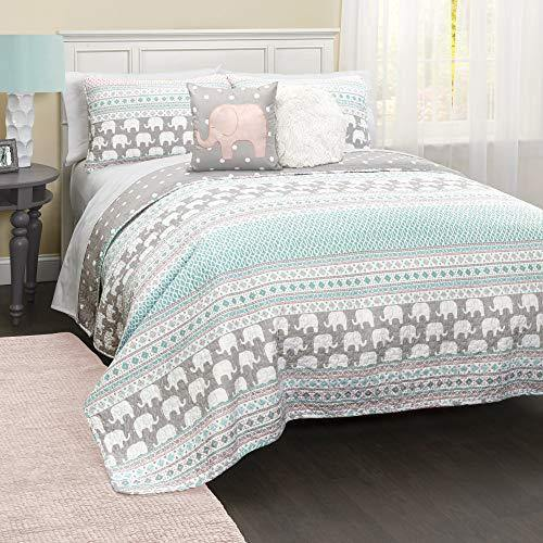 Lush Decor Pink-and-Turquoise Elephant Striped 4-Piece, Quilt Set, Reversible Bedding (Twin) - PHUNUZ