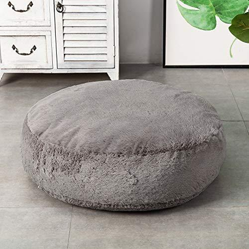 HIGOGOGO Round Faux Fur Floor Cushion, Fluffy Floor Pillow Pouf with Removable Cover Thickness: 8