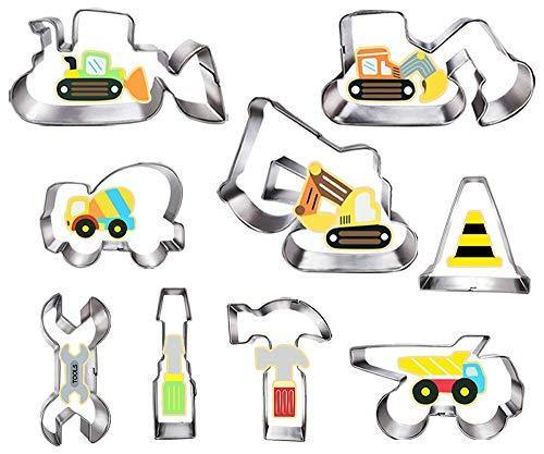 Construction Cookie Cutter Set-3 Inches-9 Piece- Excavator Digger Bulldozer Dump Truck Hammer Wrench Construction Tools Cutters Molds for Kids Construction Themed Party - PHUNUZ