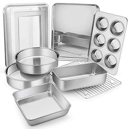 9-Piece Bakeware Sets, E-far Stainless Steel Baking Pan Set Include Round Cake Pan/12.4x9.7 Baking Pan with Lid/8x8 Baking Pan/Loaf Pan/Muffin Pan/Baking Sheet with Rack, Non-toxic & Dishwasher Safe - PHUNUZ