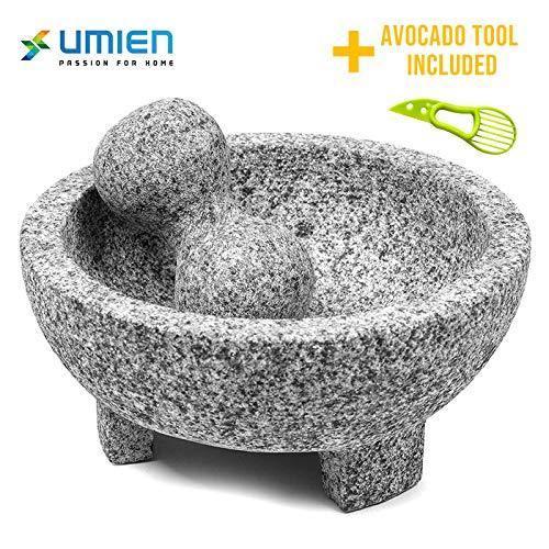 Granite Mortar and Pestle Set guacamole bowl Molcajete 8 Inch - Natural Stone Grinder for Spices, Seasonings, Pastes, Pestos and Guacamole - Extra Bonus Avocado Tool Included - PHUNUZ