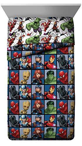 Jay Franco Marvel Avengers Team Twin Comforter - Super Soft Kids Bedding - Fade Resistant Polyester Microfiber Fill (Official Marvel Product) - PHUNUZ