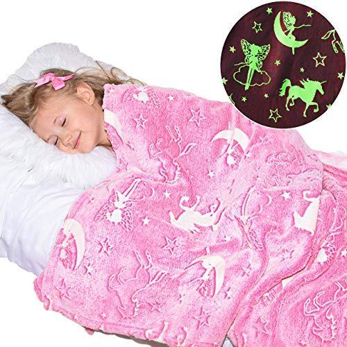Unicorn Blanket Glow in The Dark Luminous Fairy Blanket for Kids - Soft Plush Pink Fantasy Star Blanket Throw - Large 60in x 50in Glowing Magical Blankets Gift for Girls (Pink Unicorn and Fairy) - PHUNUZ