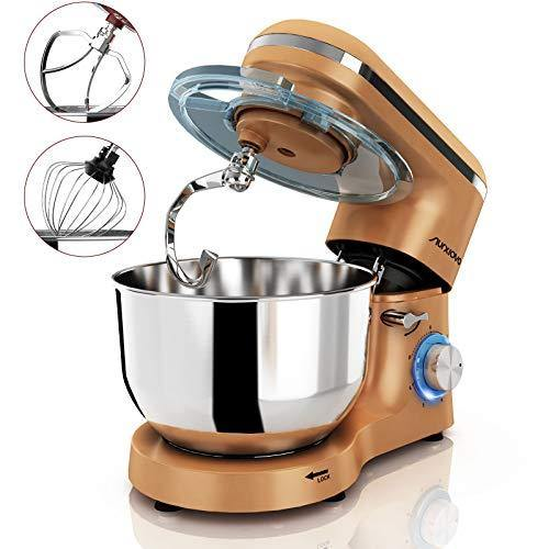 Nurxiovo 6.5QT Stand Mixer 660W Dough Hook Whisk Beater 6-Speed Electric Mixer Kitchen Tilt-Head Food Mixer with Stainless Steel Bowl (Gold) - PHUNUZ