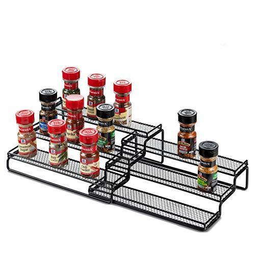 3 Tier Expandable Spice Rack Organizer for Cabinet, Black Modern Pantry Kitchen Countertop Stand 3 Step Shelf - Expands 12 to 24 Inches - PHUNUZ
