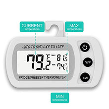 Load image into Gallery viewer, 2 Pack Digital Refrigerator Freezer Thermometer,Max/Min Record Function with Large LCD Display