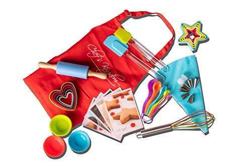 Riki's kingdom Kids real baking set with recipes 44-Piece/Child Apron/Cupcake cups/decorating kit,Cookie Cutters,Measuring Spoons,whisk,Rolling Pin,Spatula,Gift Box, Dishwasher safe - PHUNUZ