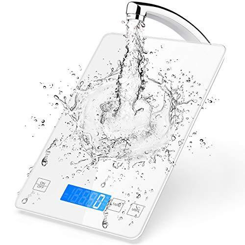 Nicewell Food Scale, 22lb Digital Kitchen White Scale Weight Grams and oz for Cooking Baking, 1g/0.1oz Precise Graduation,Tempered Glass - PHUNUZ
