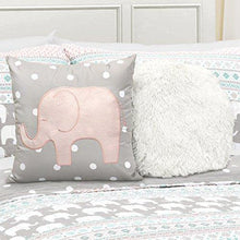 Load image into Gallery viewer, Lush Decor Pink-and-Turquoise Elephant Striped 4-Piece, Quilt Set, Reversible Bedding (Twin) - PHUNUZ