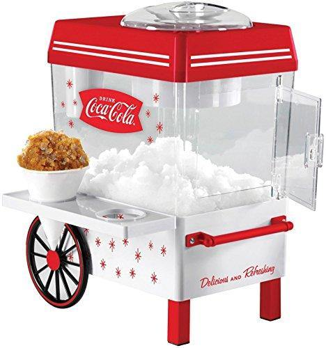 Nostalgia SCM550COKE Coca-Cola Countertop Snow Cone Maker Makes 20 Icy Treats, Includes 2 Reusable Plastic Cups & Ice Scoop – White/Red - PHUNUZ