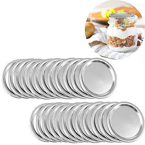 24 wide Mouth Mason Jar Lids, Split-Type Canning Jar Lids with Leak Proof Silicone for Mason Jar Canning Lids (Regular Mouth) - PHUNUZ