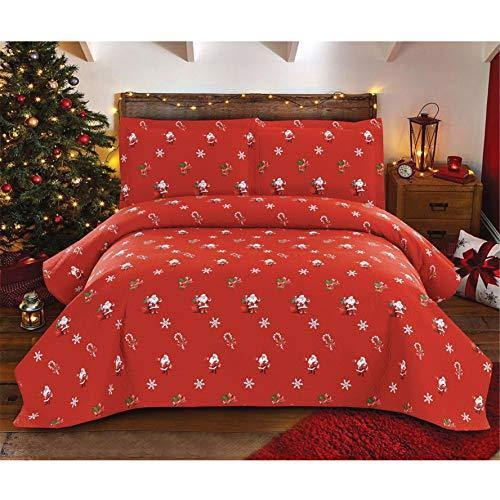 Red Santa Christmas Bedding 3 Pcs Lightweight Thin Bedspread Quilt Set King Size Snowflake Candy Canes Printed Xmas Coverlet Blanket Set New Year's Decorations - PHUNUZ