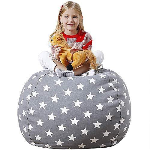 Aubliss Stuffed Animal Bean Bag Storage Chair, Beanbag Covers Only for Organizing Plush Toys, Turns into Bean Bag Seat for Kids When Filled, Medium 32