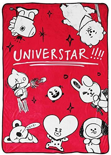 Jay Franco Line Friends BT21 Black & White Doodle Blanket - Measures 62 x 90 inches, Kids Bedding - Fade Resistant Super Soft Fleece (Official Line Friends Product) - PHUNUZ