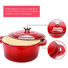 Load image into Gallery viewer, Puricon 5.5 Quart Enameled Cast Iron Dutch Oven, Round Ceramic Enamel Dutch Ovens Pot -Red
