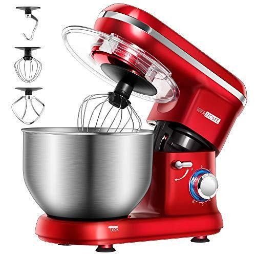 VIVOHOME Stand Mixer, 650W 6 Speed 6 Quart Tilt-Head Kitchen Electric Food Mixer with Beater, Dough Hook and Wire Whip, Red, ETL Listed - PHUNUZ