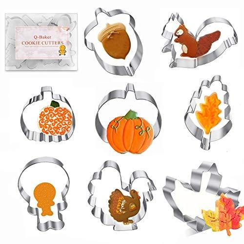 Thanksgiving Cookie Cutters 8PCS Fall Leaves Cookie Cutter Set Turkey, Pumpkin, Maple/Oak Leaf, Corn,Squirrel and Acorn Turkey Leg - PHUNUZ