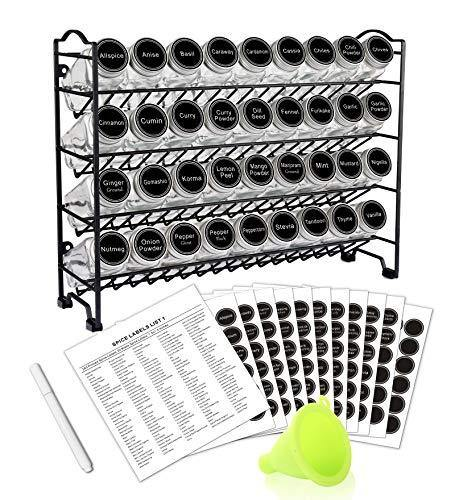 SWOMMOLY Spice Rack with 36 Empty Square Spice Jars, 396 Spice Labels with Chalk Marker and Funnel Complete Set, for Countertop, Cabinet or Wall Mount - PHUNUZ