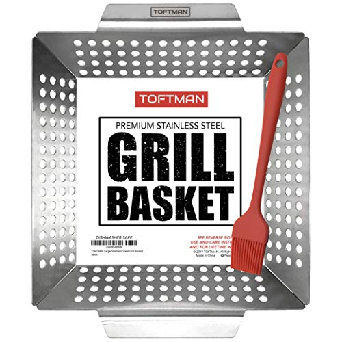 TOFTMAN Vegetable Grill Basket - Heavy Duty BBQ Pan - Grilling Wok Tray for Veggies, Shrimp, Kabob, Fish, and Meat - Stainless Steel Barbecue Accessories for Outdoors - Bonus Nonstick Basting Brush
