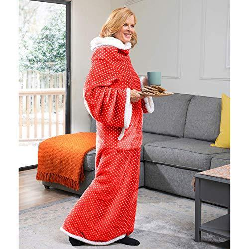 CozyRosie Wearable Blanket with Sleeves for Adults Allows You to Button Up and Go - Extra Soft, Warm and Cozy Sherpa Fleece Throw Makes for a Great Gift for Mom, Dad, Grandma or Grandpa - PHUNUZ