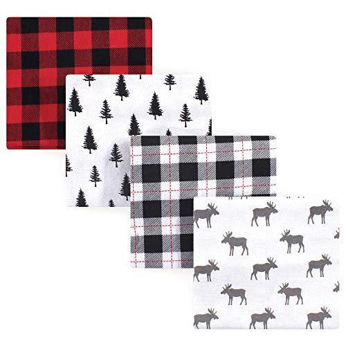 Hudson Baby Unisex Baby Cotton Flannel Receiving Blankets, Moose, One Size - PHUNUZ