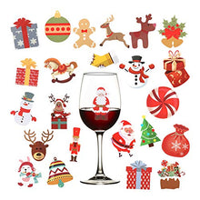Load image into Gallery viewer, 5 Sheets 120pcs Christmas Wine Glass Drink Markers- Xmas Static Cling Stickers in 24 Styles Decorative Wine Glass Tags Removable Champagne Cocktail Drink Markers Wine Charms Alternative Party Favors