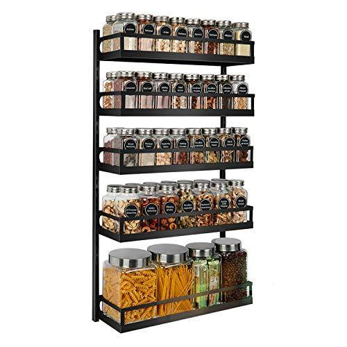X-cosrack Wall Mount Spice Rack Organizer 5 Tier Height-Adjustable Hanging Spice Shelf Storage for Kitchen Pantry Cabinet Door, Dual-Use Seasoning Holder Rack with Hooks, Black-Patented - PHUNUZ