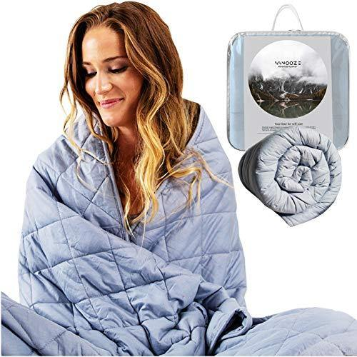 "sSnooze Weighted Blanket 15 Pounds - 48"" x 72"" Heavy Blanket for Adults and Kids - 100% Organic Cotton with Premium Glass Beads - Weighted Blanket Queen and Twin Weighted Blankets - PHUNUZ"