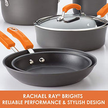 Load image into Gallery viewer, Rachael Ray Brights Hard Anodized Nonstick Stock Pot/Stockpot with Lid, 10 Quart, Gray with Orange Handles