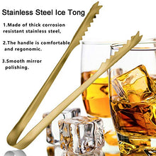 Load image into Gallery viewer, Ice Tongs for Ice Bucket,7 Inch Serving Tongs,Bar Tongs,304 Stainless Steel,-Gold Plated-for Bar Kitchen Restaurant…