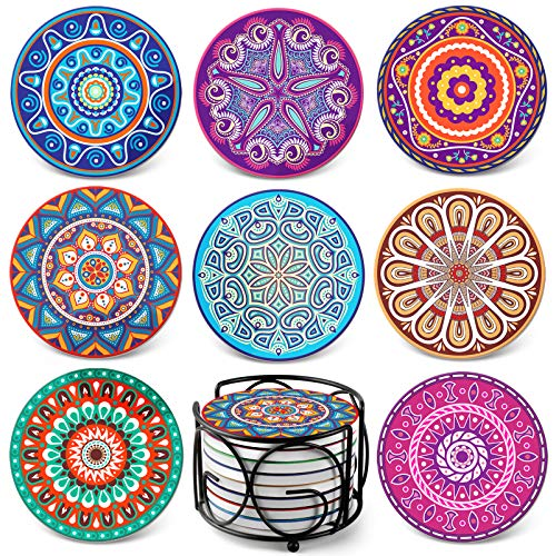 Teivio Absorbing Stone Mandala Coasters for Drinks Cork Base, with Holder, for Friends, Men, Women, Funny Birthday Housewarming, Apartment Kitchen Room Bar Decor, Suitable for Wooden Table, Set of 8