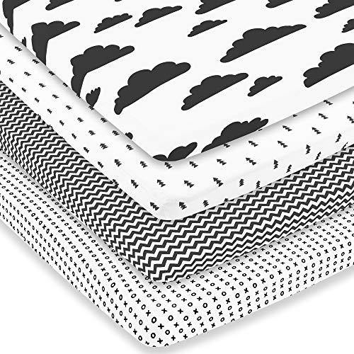 Pack n Play Sheets – Premium Pack and Play Sheets 4 Pack – 100% Super Soft Jersey Knit Cotton Playard Mattress Portable Playpen Sheet – Fitted Play Yard Mini Crib Sheets for Boy & Girl (24 x 38 x 5) - PHUNUZ