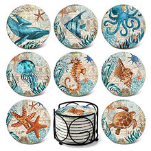 Load image into Gallery viewer, Absorbing Stone Sea Ocean Life Coasters for Drinks by Teivio - Cork Base with Holder,Coastal Decor Beach Theme Tropical,for Housewarming Apartment Kitchen Bar Decor,Suitable For Wooden Table, Set of 8
